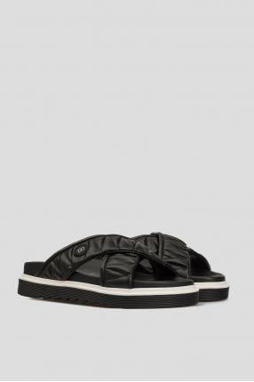 Женские черные кожаные слайдеры 1
