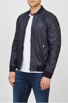 Чоловіча темно-синя шкіряна куртка 1