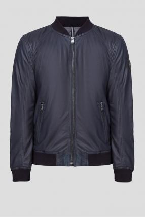 Чоловіча темно-синя шкіряна куртка