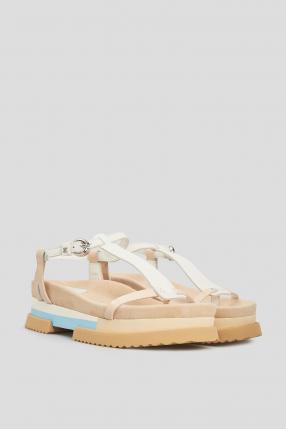 Женские бежевые замшевые сандалии 1