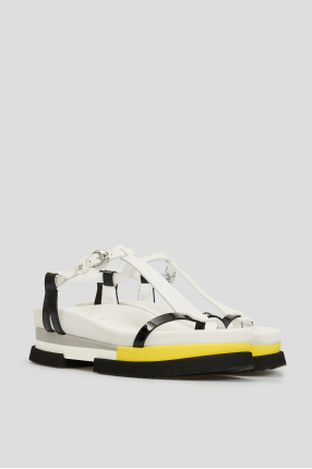 Женские белые замшевые сандалии 1