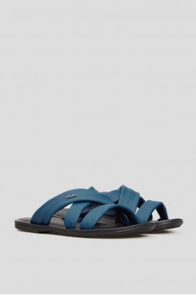 Чоловічі сині шкіряні слайдери 1