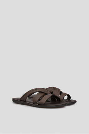 Чоловічі коричневі слайдери 1