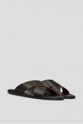 Мужские черные кожаные слайдеры 1