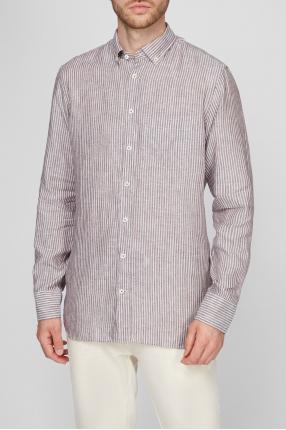 Чоловіча лляна сорочка у смужку Button Down 1