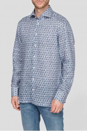 Мужская льняная рубашка с узором 1