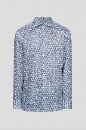 Мужская льняная рубашка с узором