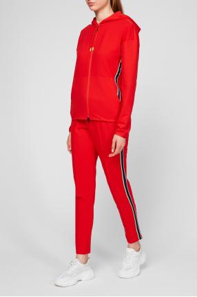 Жіночий червоний спортивний костюм (худі, брюки) 1