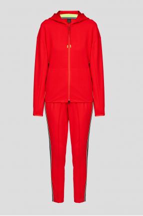 Жіночий червоний спортивний костюм (худі, брюки)