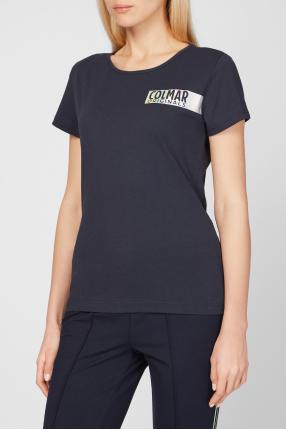 Женская темно-синяя футболка 1