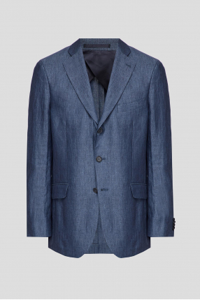 Чоловічий синій лляний блейзер
