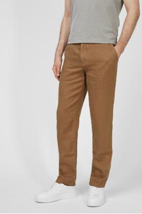 Чоловічі коричневі лляні брюки 1