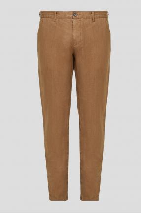 Чоловічі коричневі лляні брюки