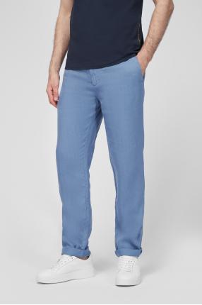 Чоловічі блакитні лляні брюки 1