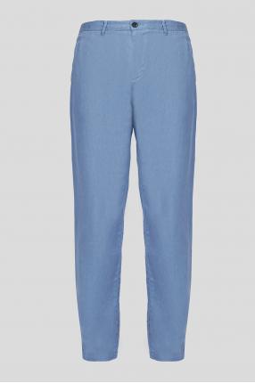 Чоловічі блакитні лляні брюки