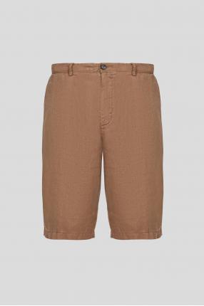 Чоловічі темно-бежеві лляні шорти