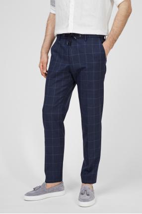 Чоловічі сині брюки у клітинку 1
