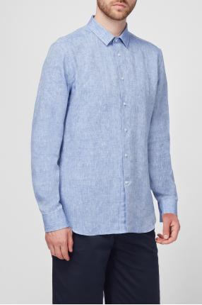Чоловіча блакитна лляна сорочка 1