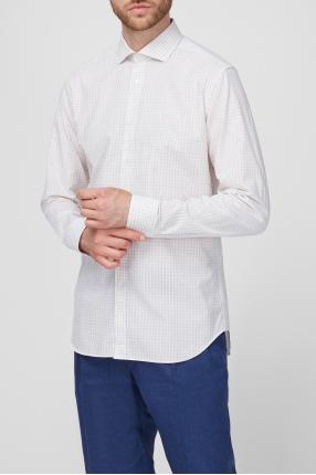 Чоловіча біла сорочка в клітку 1
