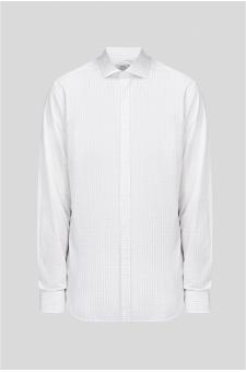 Чоловіча біла сорочка в клітку