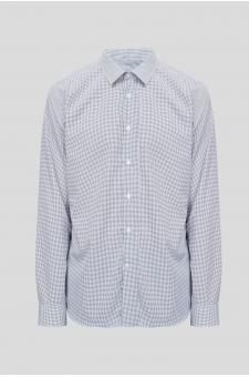 Чоловіча біла сорочка в горошок