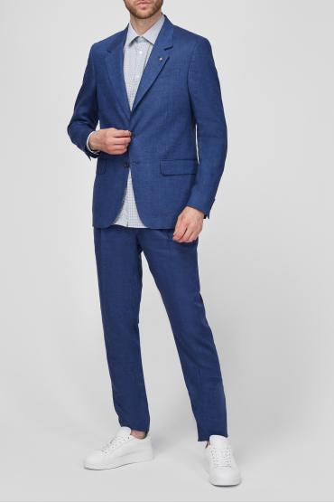 Чоловік синій лляний костюм (піджак, брюки) 2