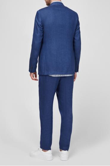 Чоловік синій лляний костюм (піджак, брюки) 3