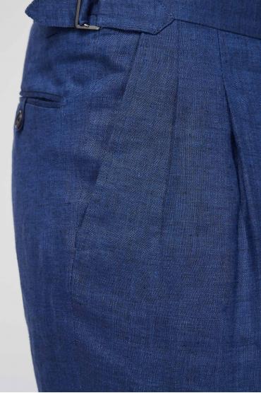 Чоловік синій лляний костюм (піджак, брюки) 4