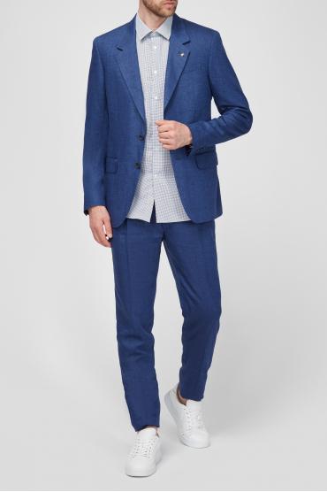 Чоловік синій лляний костюм (піджак, брюки) 5