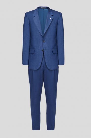 Чоловік синій лляний костюм (піджак, брюки) 1