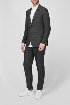 Чоловічий темно-сірий лляний костюм 1
