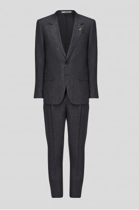 Чоловічий темно-сірий лляний костюм
