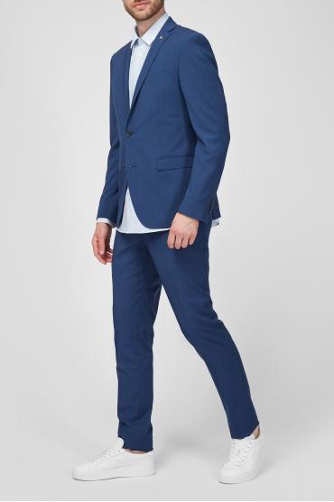 Чоловік вовняний синій костюм в клітину (піджак, брюки) 5
