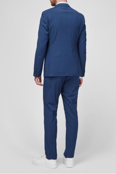 Чоловік вовняний синій костюм в клітину (піджак, брюки) 3