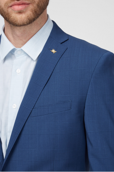Чоловік вовняний синій костюм в клітину (піджак, брюки) 4