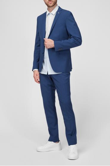 Чоловік вовняний синій костюм в клітину (піджак, брюки) 2