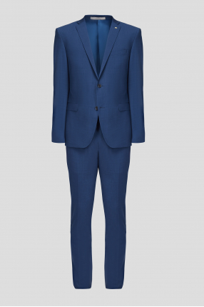 Чоловік вовняний синій костюм в клітину (піджак, брюки)