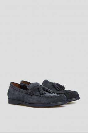 Мужские темно-синие замшевые лоферы 1