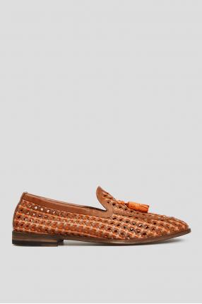 Мужские коричневые кожаные лоферы