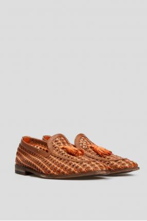 Мужские коричневые кожаные лоферы 1