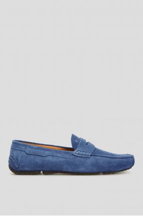 Мужские замшевые синие мокасины