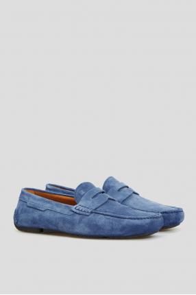 Мужские замшевые синие мокасины 1