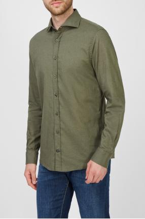 Мужская зеленая льняная рубашка 1