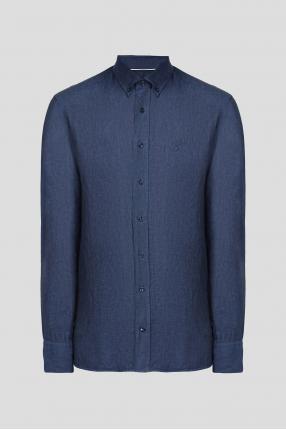 Мужская темно-синяя льняная рубашка