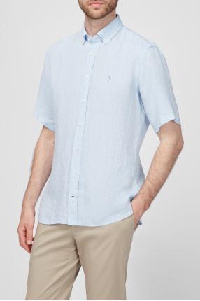 Мужская льняная голубая рубашка 1