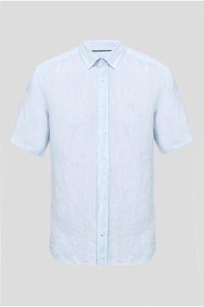 Мужская льняная голубая рубашка