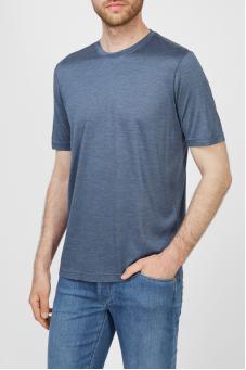 Мужская синяя шелковая футболка 1