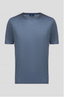 Мужская синяя шелковая футболка