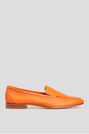 Женские оранжевые кожаные лоферы