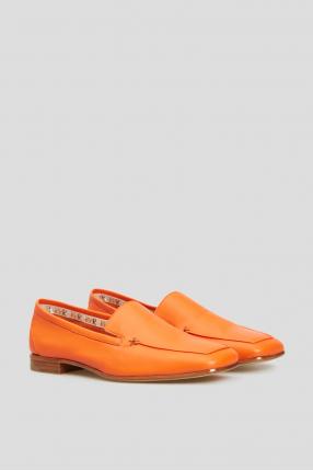 Женские оранжевые кожаные лоферы 1